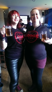 Vikki and Lucy enjoy the beers and new t-shirts